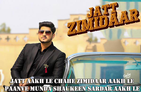 jatt zimidaar lyrics punjabi song